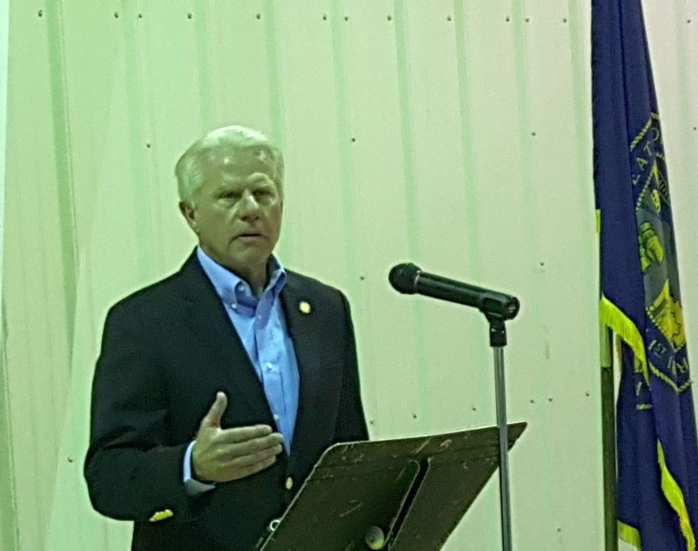RRN/ Sen. Matt Williams speaks at a dedication ceremony Monday March 14, 2016 at the Callaway Community Center for a 600kw solar system installed on the Pandorf Land & Cattle Co. ranch.