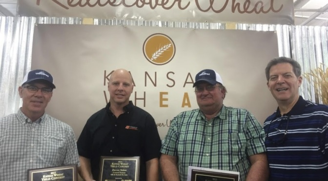 2015 Yield Contest winners Darwin Ediger, Darren Nelson and Doug Queen with Governor Brownback (Image courtesy of Kansas Wheat)