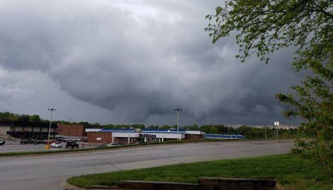 Courtesy/Alexandria Hobbie. Omaha tornado formation.