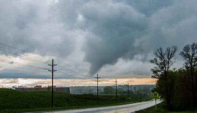 Courtesy/Jeremy Shields. Formation of a tornado in Omaha.
