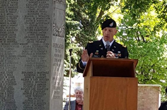 Courtesy/ Joda Schroeder.  Maj. David Sheets was featured speaker at Cozad's Memorial Day service.
