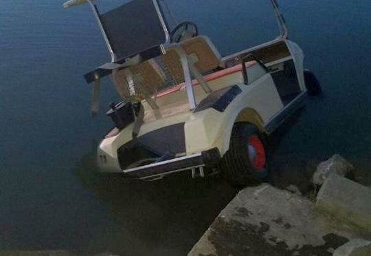Courtesy/ Lincoln County Sheriff's Office.  Golf cart reportedly stolen and abandoned  in Lincoln County's  Lake Maloney this past week.