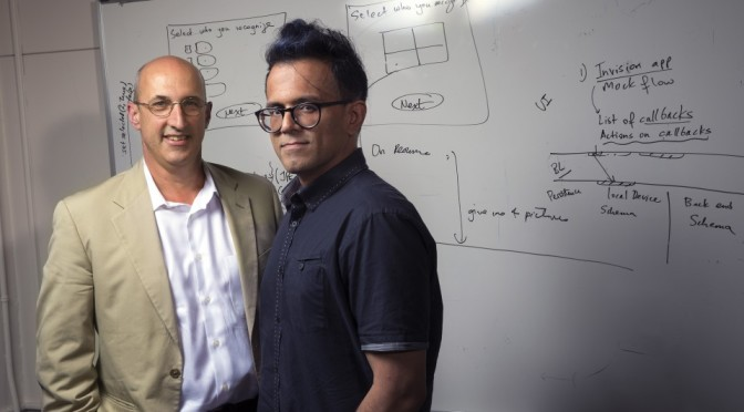 Courtesy/ Craig Chandler | University Communications.  UNL's Kirk Dombrowski (left) and Bilal Khan will head an interdisciplinary team to develop ODIN, short for Open Dynamic Interaction Networks.