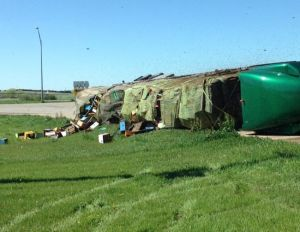(AUDIO/VIDEO) Semi-trailer accident creates a buzz in Nebraska Sandhills town