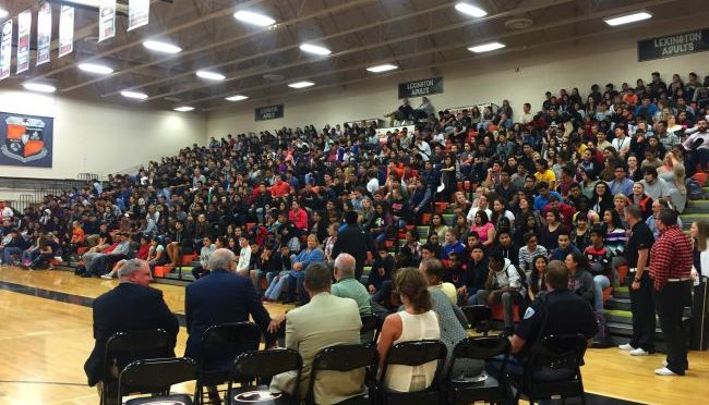 RRN/Lexington High School students gather for annual academic pep rally.