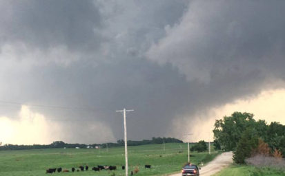 Photo by Kasey Knowles as tornado crosses Dickinson County.