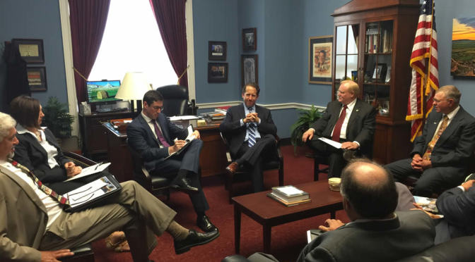 NE Farm Bureau Board Members discuss policies with Congressman Smith.