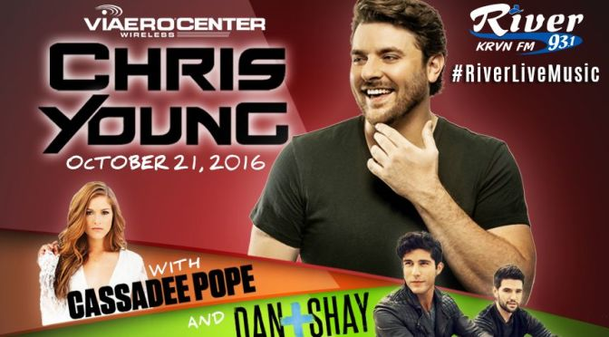 RRN/ Chris Young will be in concert on October 21, 2016 at Kearney's Viaero Center wih special guests Dan + Shay & Cassadee Pope.