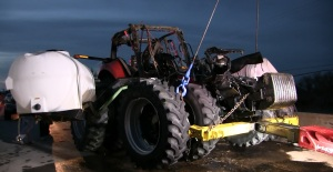Tractor topples upside down into western Nebraska river