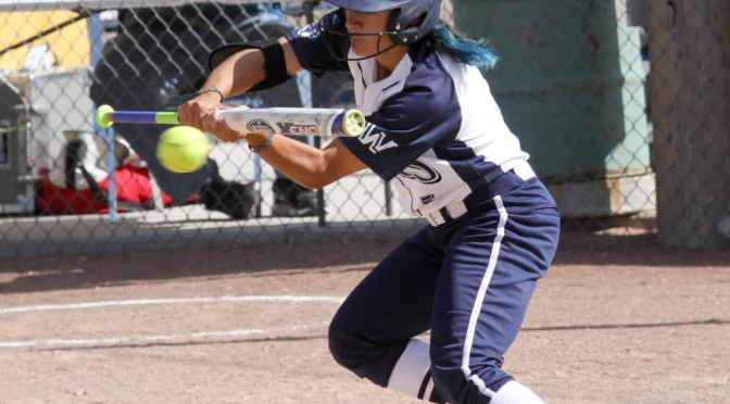 Courtney Medina gets ready to lay down a bunt during their game with Otero on Tuesday.  WNCC softball sweeps Otero, advances to Championship series(Photo courtesy of WNCC Media Relations).