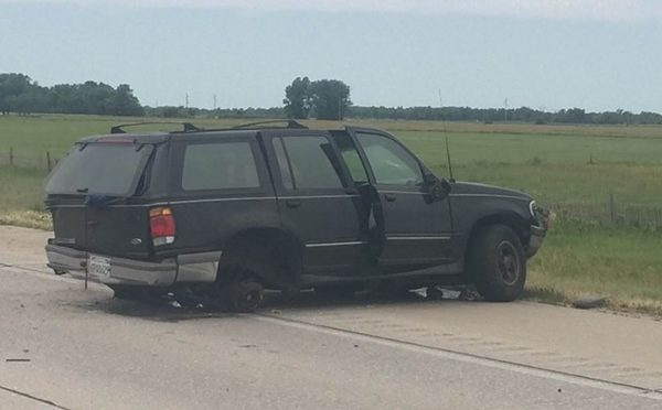 Courtesy/Ford Explorer involved in multi-vehicle crash near North Platte -- photo courtesy KNOP-TV News 2