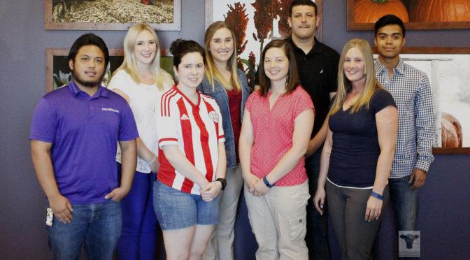 BCI Beef Scholars are pictured left to right: A.J. Cabanatuan, Sarah Jones, Paula Mendez, Carlee Wollard, Amanda Kathrens, Jose Soto, Allison McKiearnan and Kevin Manase.