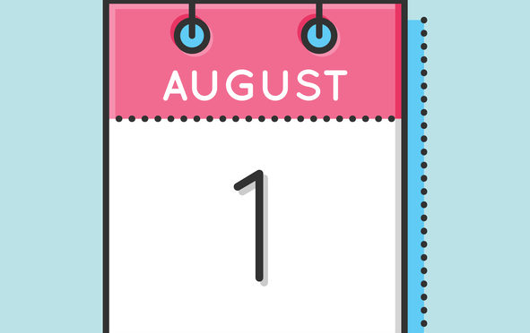 Vector Calendar Icon. Flat and thin line vector illustration. Calendar sheet on light blue background. August 1th