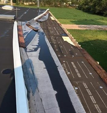 Courtesy/Damage to roof of Lexington Community Health Center building from Wednesday morning storm  -- photo by Don Young, Director of Ancillary Services, Lexington Regional Health Center 7-27-16