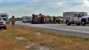 Driver escapes serious injury following semi rollover on Highway 71