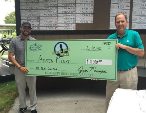 Austin Miller with SBCC pro Jason Meininger and his $10,000 winning check