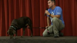 BMS students get visit from dog with heroic tale