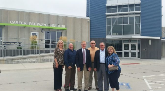 Courtesy/ Phelps County Development Corporation.  (From left to right): Janet Boehler, Legacy Purpose LLC; Brian Deakin, Becton Dickinson; Tom Carlson, former State Senator; Fred Diedrichsen, PCDC President; Ron Tillery, PCDC Executive Director; Diana Watson, Central Community College.
