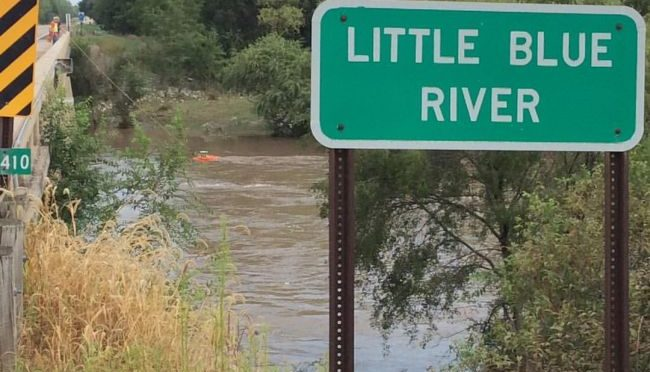 Courtesy/NWS Hastings. USGS taking measurements Tuesday morning on the Little Blue River near Deweese.