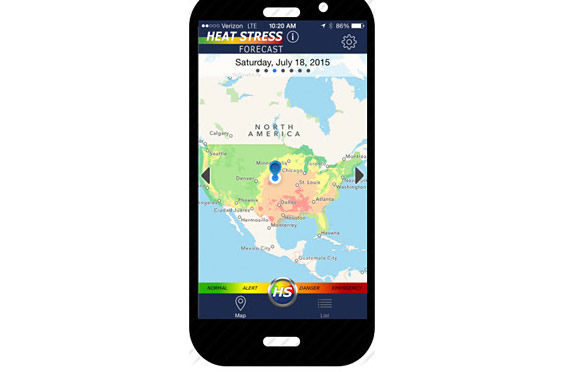 To improve access to cattle heat-stress forecasts, a smart phone application was created.