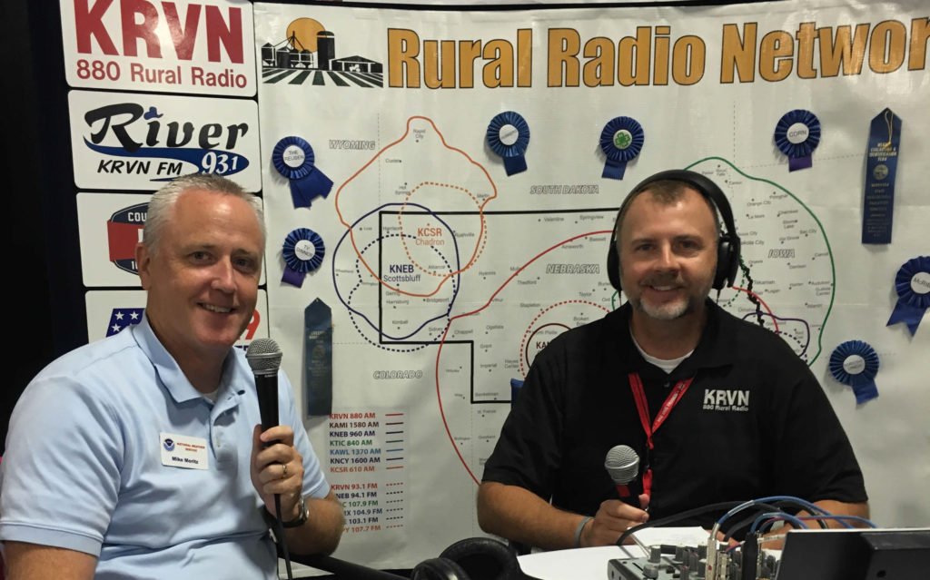Mike Moritz, meteorologist with the National Weather Service visits with Joe Gangwish live from State Fair.