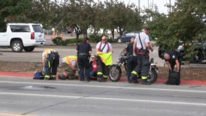 74-year-old motorcyclist hospitalized following Thursday morning accident