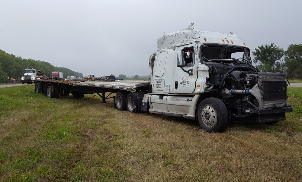(AUDIO) Truck rollover accident near Overton this morning