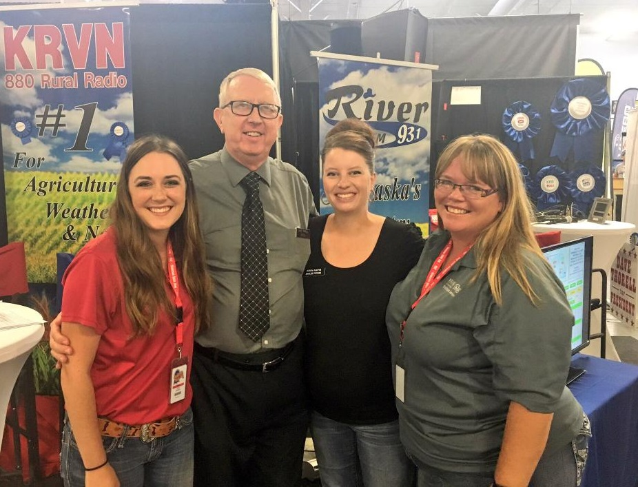 RRN Broadcasters at the Nebraska State Fair Wednesday include (L to R) Jesse Harding, Dave Thorell, Shalee Peters and Susan Littlefield. (RRN Image)