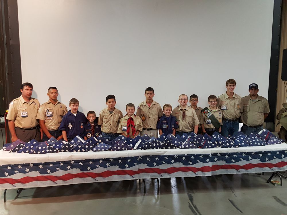 RRN/ Boy Scout Troop 88 and Cub Scout Pack 143 participated in 9/11 commemoration program held Sunday September 11, 2016 at the Heartland Museum of Military Vehicles in Lexington.  They carried folded flags into the program and various intervals to commemorate the lives lost.