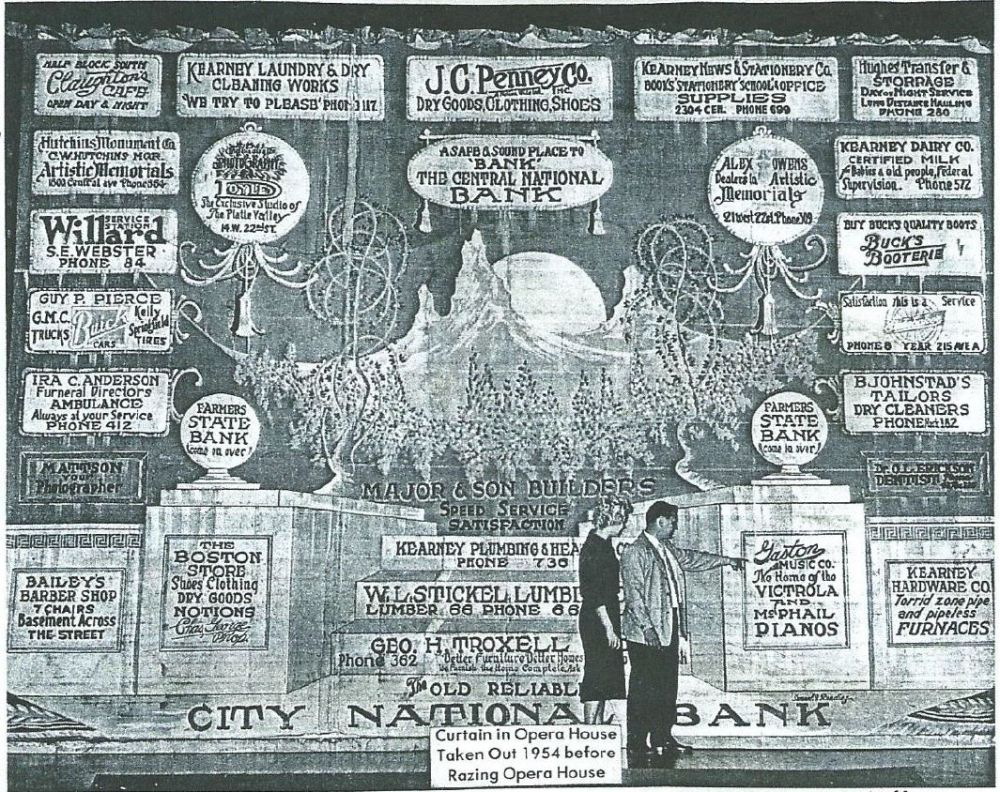 Courtesy/ Buffalo County Historical Society. When the Family History Center opens next spring, the opera house curtain will be on public display in its full glory, possibly for the first time since the Kearney Opera House held its final performance in 1932.