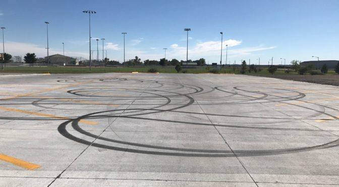Courtesy/ Lexington Police Department.   Lexington Field House parking lot following weekend criminal mischief.