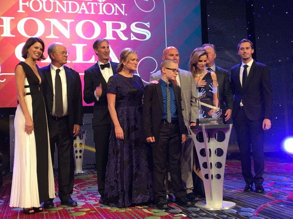 Courtesy/ Team Jack Foundation.  Andy Hoffman at The NASCAR Foundation's Inaugural Honors Gala accepting the Betty Jane France Humanitarian Award.