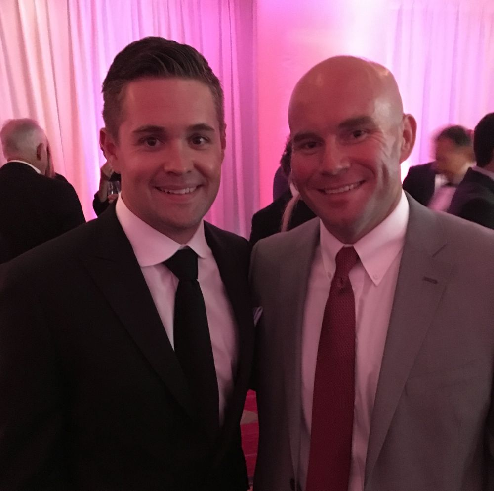 Courtesy/ Team Jack Foundation.  Andy Hoffman with NASCAR driver Ricky Stenhouse Jr.