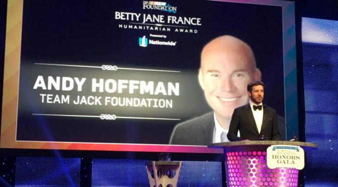 Courtesy/ Team Jack Foundation.  NASCAR driver Martin Truex Jr. introducing Andy Hoffman.