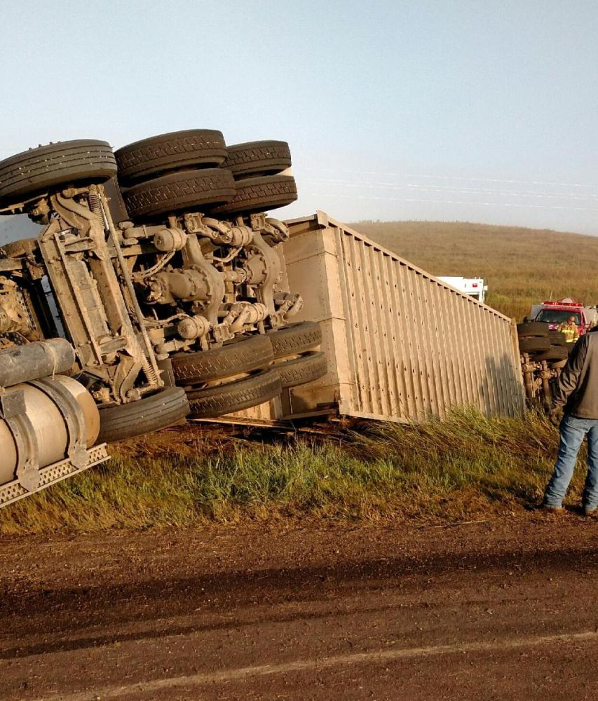 Courtesy/ Cattle truck accident in southern Custer County early Thursday morning September 1, 2016.