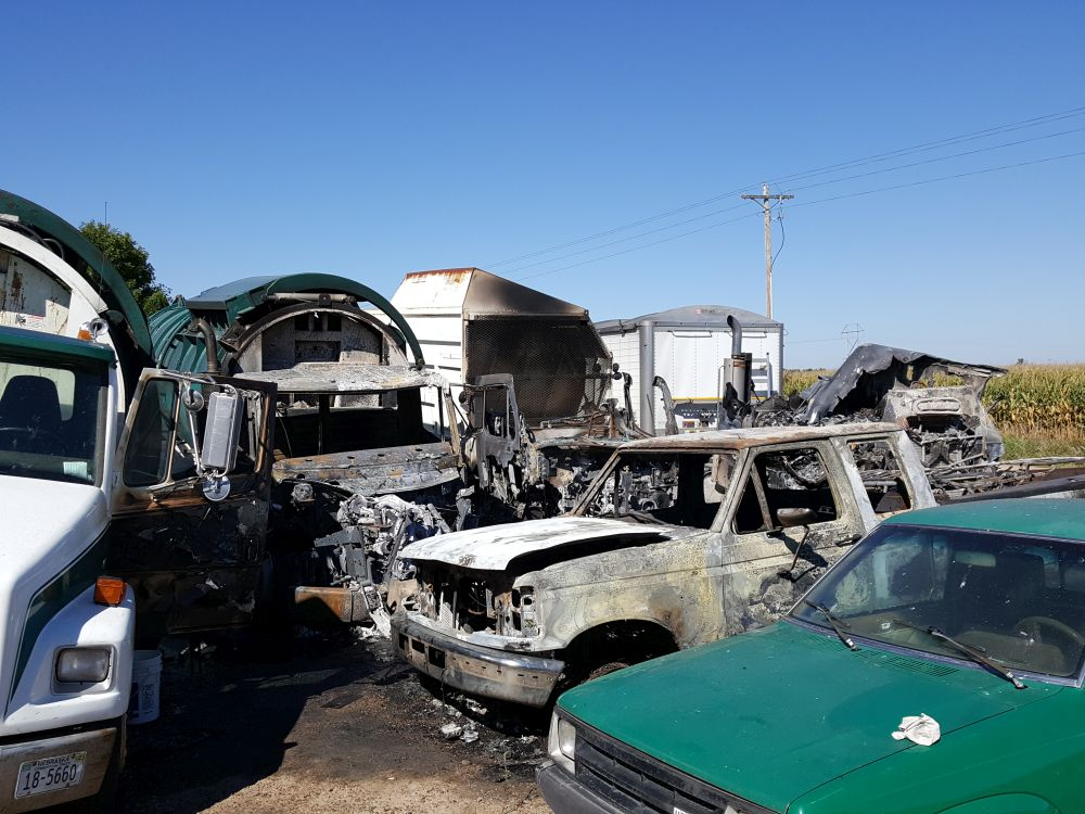 Several trucks destroyed in early Sunday fire