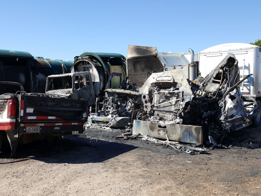 RRN/ Four trucks, two pickups and a four wheeler were damaged by fire early Sunday morning southeast of Lexington in the lot of Dan's Sanitation.
