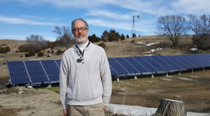 RRN/ Michael Shonka of Nebraskans For Solar at solar installation he was involved with at Jenkins Ranch near Callaway, Ne on February 17, 2016.