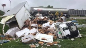 RRN/Two semis collided in the east ditch of Petro south of York.