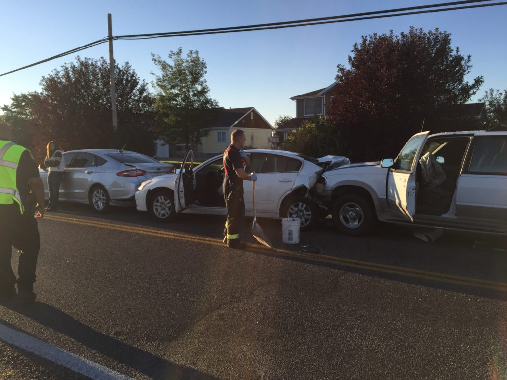 Minor injuries from three vehicle early morning chain reaction accident