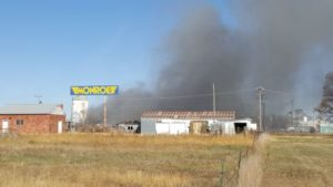 Former Monroe Plant Debris Ignites