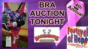 4th Save-A-Rack at Backaracks Bra Auction for Festival of Hope tonight