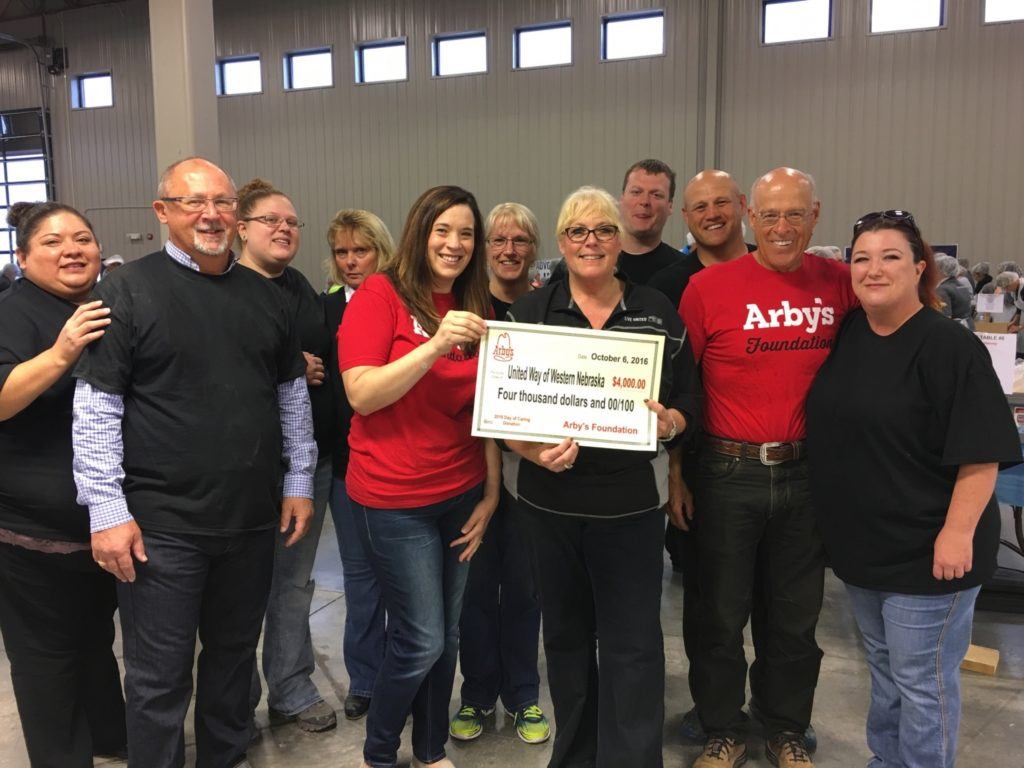 Arbys donates to $4k to United Way Day of Caring event