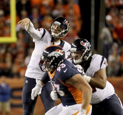 Houston Texans quarterback Brock Osweiler (17) throws as Denver Broncos defensive end Jared Crick (93) defends during the first half of an NFL football game, Monday, Oct. 24, 2016, in Denver. (AP Photo/Jack Dempsey)