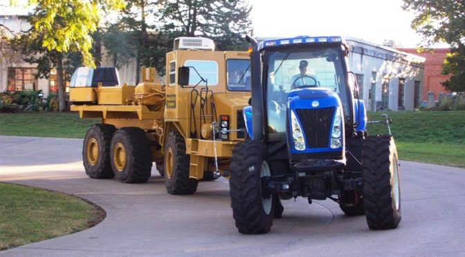 A New Holland TG 230 tractor goes through a drawbar test at the Nebraska Tractor Test Laboratory. (Roger Hoy - NTTL)