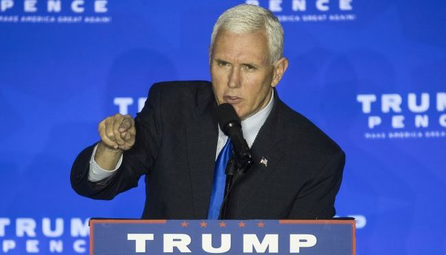 Courtesy/AP. Republican vice presidential candidate, Indiana Gov. Mike Pence speaks during a campaign rally, Monday, Oct. 17, 2016, in Mason, Ohio. (AP Photo/John Minchillo)
