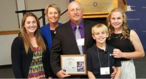 Courtesy/Phill Seevers with his family at the Conocordia Hall of Fame ceremony.