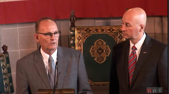 NE Governor Ricketts (right) and NE Director of Agriculture Ibach (left) announce letters of intention to purchase NE beef from EU companies.