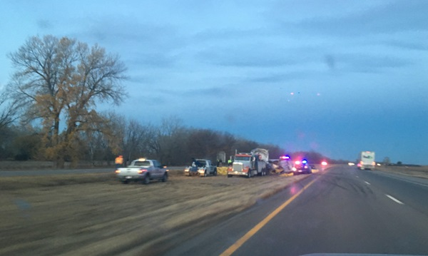 RRN/Two-semi collision in the westbound lanes of Interstate-80 east of Overton interchange -- photo by Jesse Harding