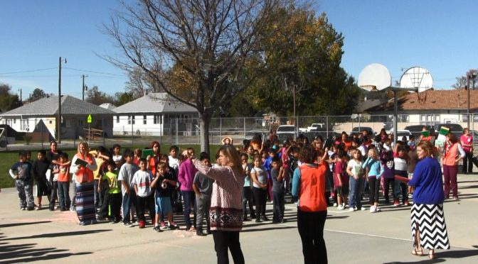Students at Scottsbluff's Roosevelt Elementary evacuate building during emergency simulation Thursday. (Strang/RRN/KNEB)
